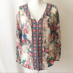 Feathers by Tolani | Long Sleeve Floral Blouse